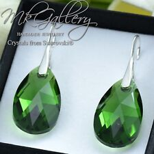 925 Silver Earrings 22mm Pear/Almond Crystals from Swarovski® Dark Moss Green