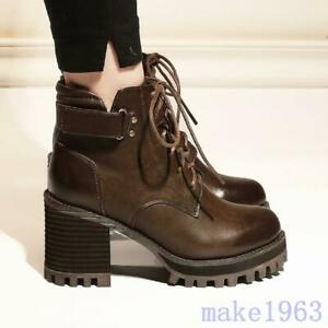 Womens Retro PU Leather Ankle Boots Side Zipper Chunky High Heel Casual Shoes