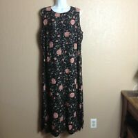Charter Club Woman Size 16W Sleeveless Dress Silk Shell Black Pink Floral Long