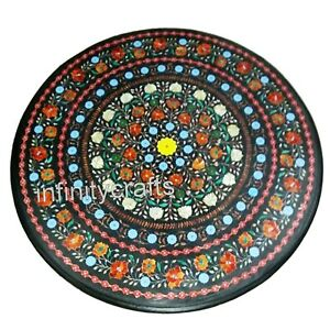 Royal Design Inlaid with Gemstones Office Table Top Round Dining Table 36 Inches