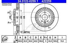 ATE Juego de 2 discos freno Trasero 302mm ventilado para VW 24.0122-0259.1