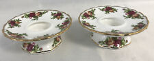 Royal Albert Old Country Roses ~ Pedestal Candle Holders - Set of 2
