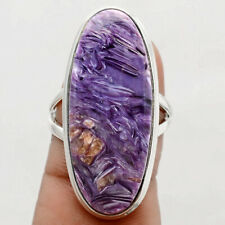 8g Top Grade Siberian Charoite 925 Sterling Silver Ring Jewelry s.8.5 SDR70150