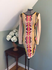 New Alice by Temperley Santos Fitted Dress long sleeve cream mix cotton Sz M/S