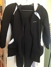 Bebe Tracksuit Sport Woman's Jacket Small Leggings Work Out S Black Mesh