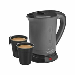 QUEST 400ML BLACK & GREY ELECTRIC MINI TRAVEL KETTLE DUAL VOLTAGE HOME OR ABROAD