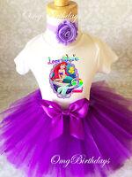 Ariel Little Mermaid Purple 2nd Second Birthday Shirt Tutu Outfit Set