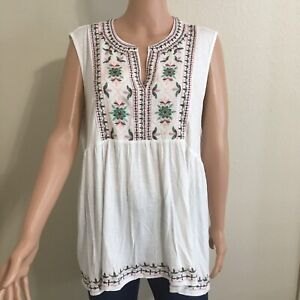 Knox Rose Women's Sleeveless Tank Shirt Blouse Top Boho Floral V Neck Sz XL New