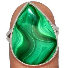 Bulls Eye Malachite 925 Sterling Silver Ring Jewelry s.8 BR54916