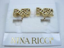 with Nr Logo & Swarovski Crystals 0872 Nina Ricci Gold Plated Clip On Earrings