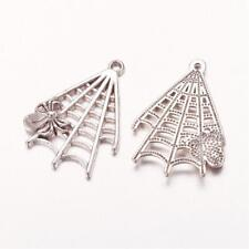3 Spiderweb Charms Antique Silver Tone Spider Charms Cabochon Setting