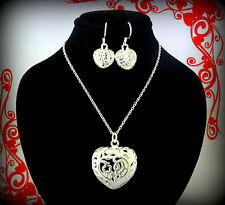 SILVER HEART CHARM NECKLACE EARRINGS SET VALENTINES DAY GIFT FOR WOMEN HER MOM