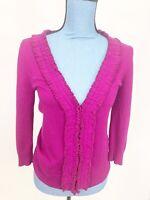 AK ANN TAYLOR Womens Small Button Down Pink Cardigan Sweater Ruffle Long Sleeve