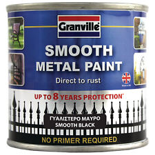 GRANVILLE Smooth BLACK Metal Paint No Primer Required - Direct To Rust 250ml