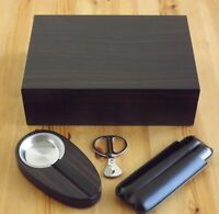 Ebony Wood Spanish Cedar 50 75 Cigar Humidor Set - Ashtray Leather Case Scissors