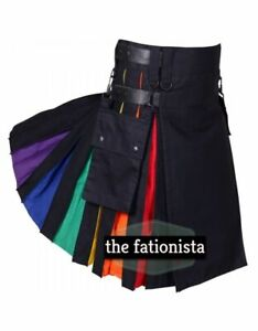 Scottish Men's Rainbow Modern utility Kilt Leather Straps  hybrid Fashion Kilt
