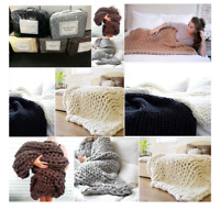 Knitted Chunky Warm Soft Thick Blankets Yarn Wool Bulky Throws Sofa Small/Large