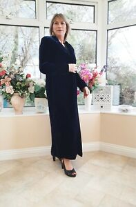 STUNNING VINTAGE *LAURA ASHLEY* BLUE SHIMMERY SILK MIX VELVET FULL LENGTH COAT