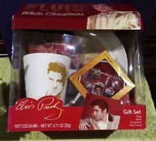 2016 Elvis Presley Gift Set Mug Plate Ornament & Hot Cocoa White Christmas