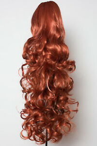 """22"""" PONYTAIL CURLY Copper / Dark Brown Highlights #350H4 Claw Clip"""
