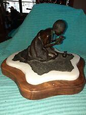 Bronze Native American Woman Holding Infant Sculpture Signed R. Krueger 1 / 15
