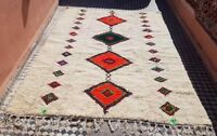 VINTAGE MOROCCAN BERBER RUG BENI OURAIN wool carpet rug hand woven FREE SHIPPIN