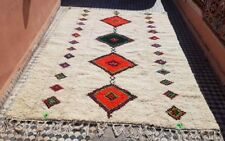 Rug Beni Ourain Moroccan Wool Berber Handmade Carpet Vintage Azilal 110'  x 82'