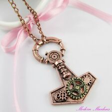 Steampunk Cogs & Gears Anchor Charm Pendant Necklace 58cm Copper