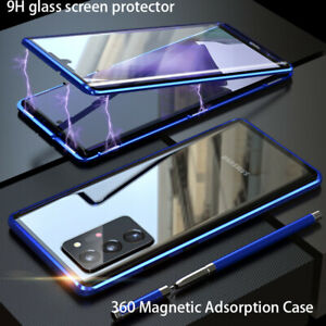 For Samsung Galaxy A21S S10 PLUS Note20 Metal Magnetic Case Tempered Glass Cover