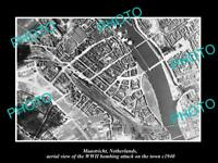 OLD LARGE HISTORIC MILITARY PHOTO MAASTRICHT HOLLAND AERIAL VIEW BOMBING c1940