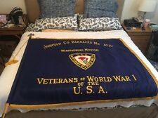 """WWI  VFW Banner 2 Sided Embroidered Flag On Pole 1071 Johnson Co Barracks 52x63"""""""