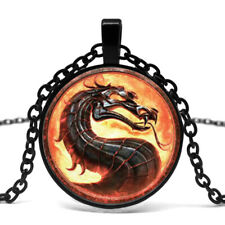 Dragon Necklace Mortal Kombat Logo Pendant Black Chain Glass