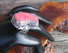 Pink Window Agate Vintage Style Gemstone Hand Crafted Statement Ring Size 9
