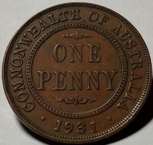 "1931 AUSTRALIAN GEORGE V PENNY.. DROPPED ""1"" VARIETY..ORIGINAL COIN..SCARCE."