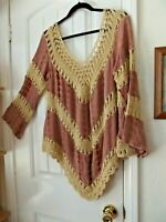 UMGEE  X-Large Crochet Lace Long Sleeve Peasant Blouse Top Tie Dye Dusty Rose