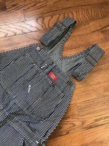 Dickies Bib Overalls 32x30 Engineer Stripes Denim Farmer Industrial - Worn 2x