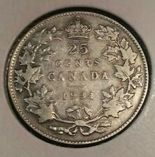 CANADA SILVER COIN 25 CENTS COIN King George V 1931