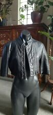 Kookai Black Leather Cropped Jacket Size 40 Australian Made