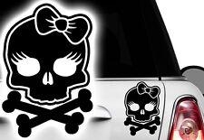 1x Autoaufkleber Totenkopf Skull Prinzessin Auto Aufkleber Princess Schleife Hd