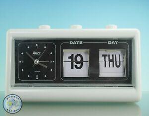 RETRO VINTAGE FLIP PERPETUAL CALENDAR DAY DATE QUARTZ ALARM CLOCK