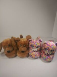 LOT OF 2 BUILD A BEAR TODDLER SLIPPERS SZ S 10-11 RAINBOW  CATS & BROWN DOGS