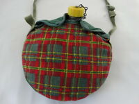 Vintage Girl Scout Canteen in Plaid Cover With Yellow Cap Lid Water Flask -8""