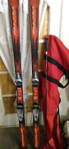 OLIN RADIUS 190 CM SNOW SKIS W/ ROSSIGNOL AXIUM BINDINGS & TOTE BAG