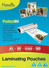 100 x Hassos A5 Laminating Pouches 80 Micron ( 2 x 40 ) Gloss Laminate Sleeves