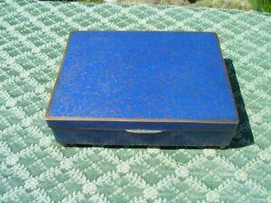 ANTIQUE CHINESE DARK BLUE INTRICATE DESIGN CLOISONNE BOX