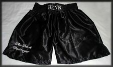 NIGEL BENN AUTOGRAPH PERSONALLY HAND SIGNED DARK DESTROYER BOXING TRUNKS SHORTS
