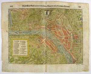 SEBASTIAN MÜNSTER MUNSTER BASEL BASLE SWITZERLAND HOLZSCHNITT 1598 #D981S
