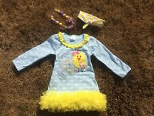Easter girls dress,Easter outfit set, bow knot headband,chunky bead , size 4t