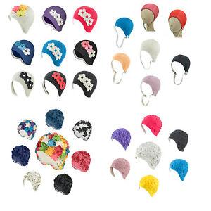 Latex Swim Cap  Floral Designed - Great For Long Hair - 18 Colors - 4 Designs