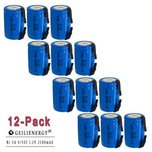 12x NiCd 4/5 Sub C 1.2V 2200mAh Rechargeable Battery Tab Blue For Power Tool USA